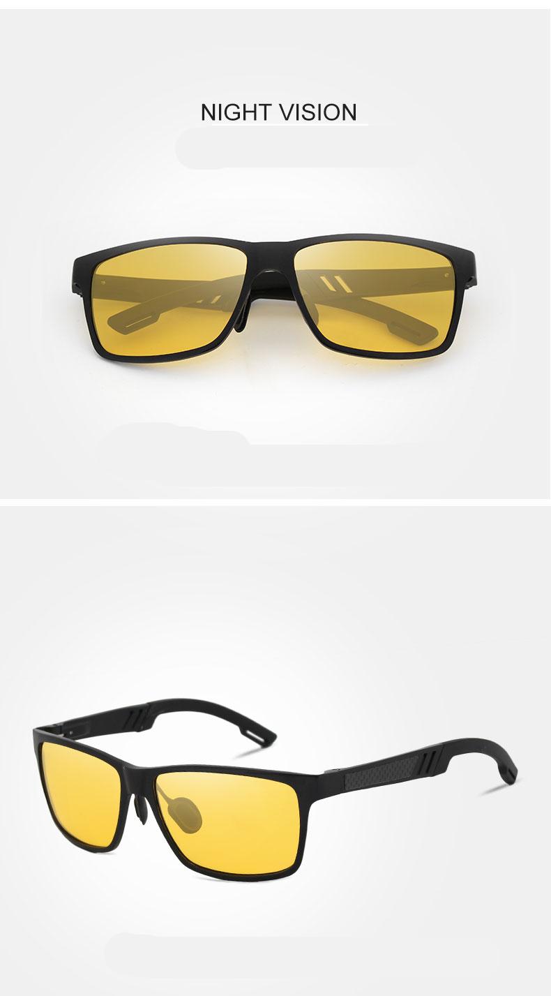KINGSEVEN Aluminum Polarized Night vision Sunglasses Men Square Sun Glasses Driving Sunglasses Goggle Eyewear oculos de sol