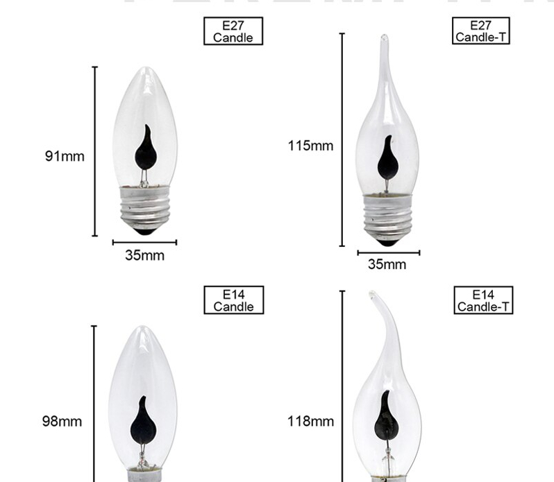 Edison Flicker Flame Led Candle Light Bulb E14 E27 Emulation Fire Lighting Vintage 3W AC220V Tail Retro Decor Energy Saving Lamp