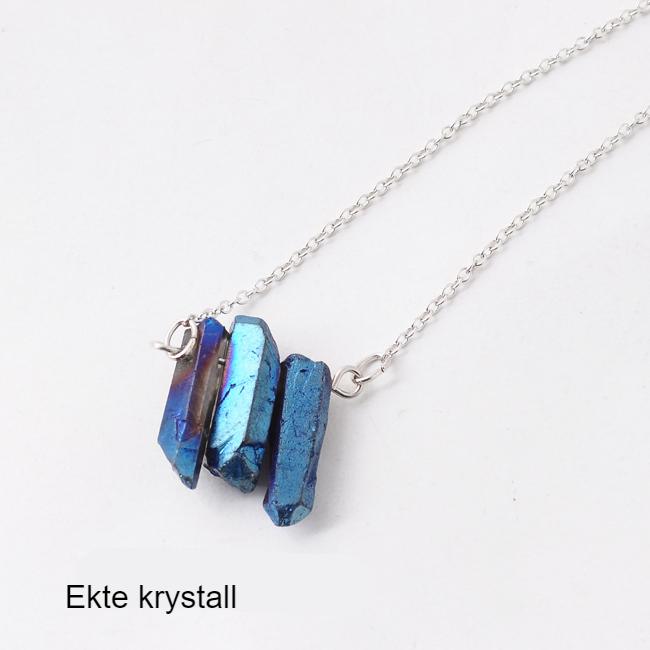 Sølvbelagt halskjede med 3 krystaller