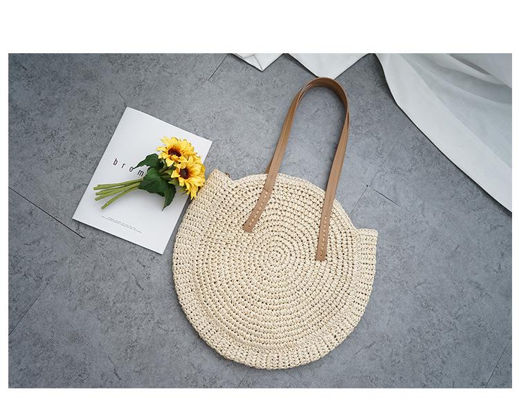 2019 new round straw bag beach bag woven large capacity single shoulder hand crochet Summer girl bag