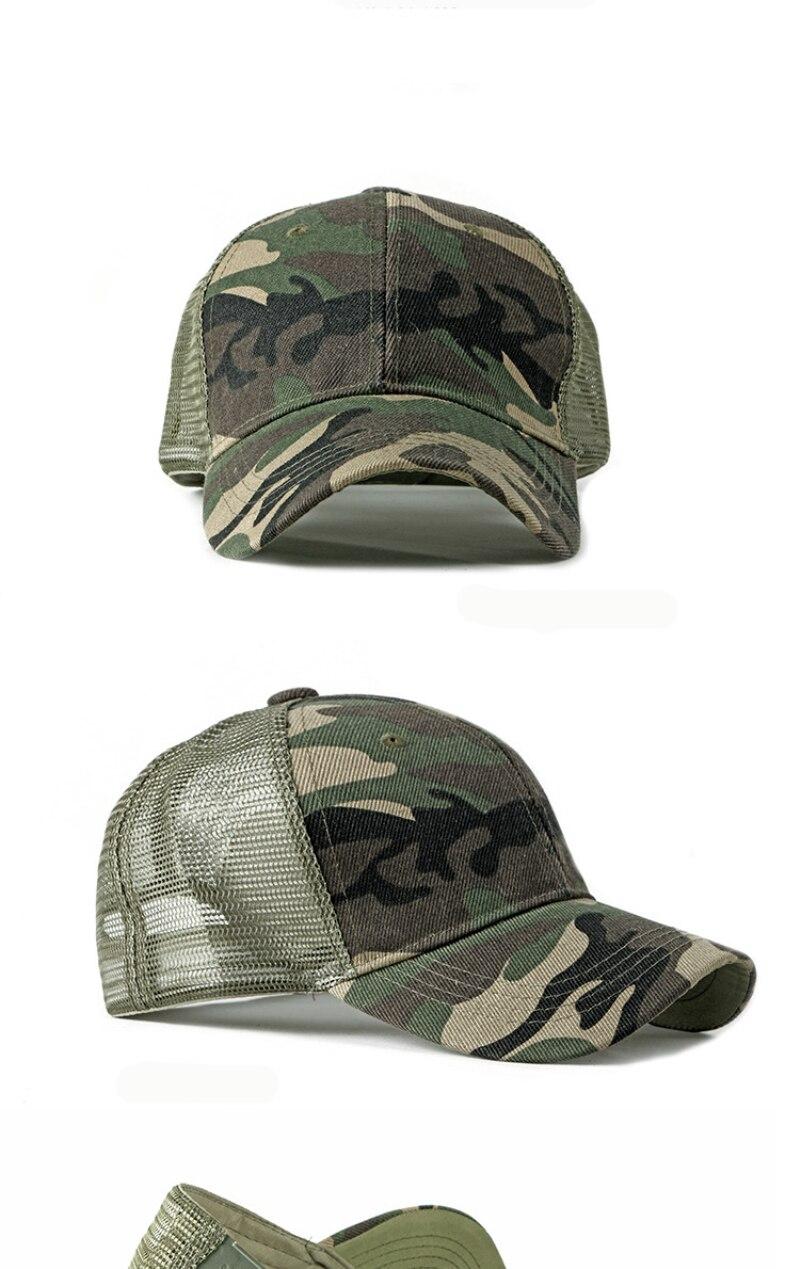 HT2360 Spring Summer Sun Hat Caps for Men Women Adjustable Baseball Cap Breathable Mesh Trucker Cap Camo Camouflage Baseball Hat