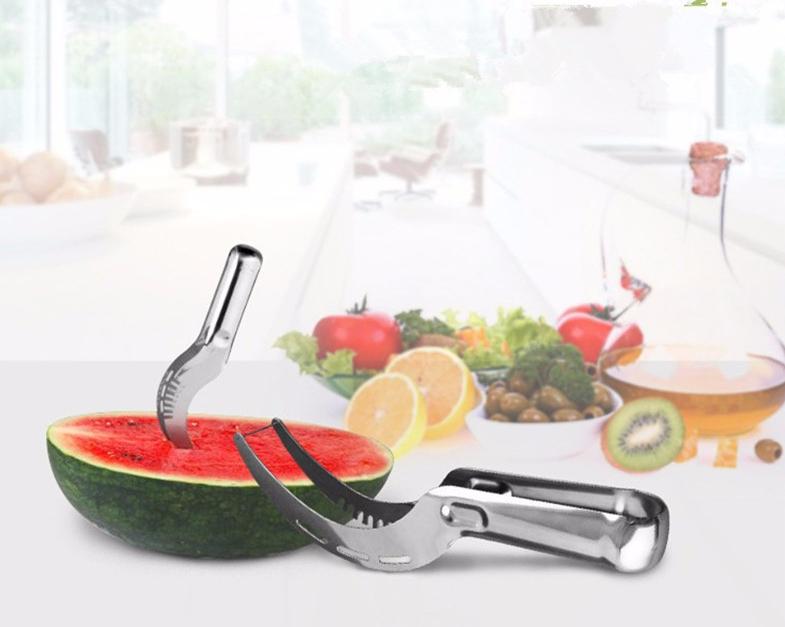Kitchen Tool Professional Stainless Steel Fruit Water melon Knife Cutter Slicer Corer Server Splitter Watermelon Cantaloupe