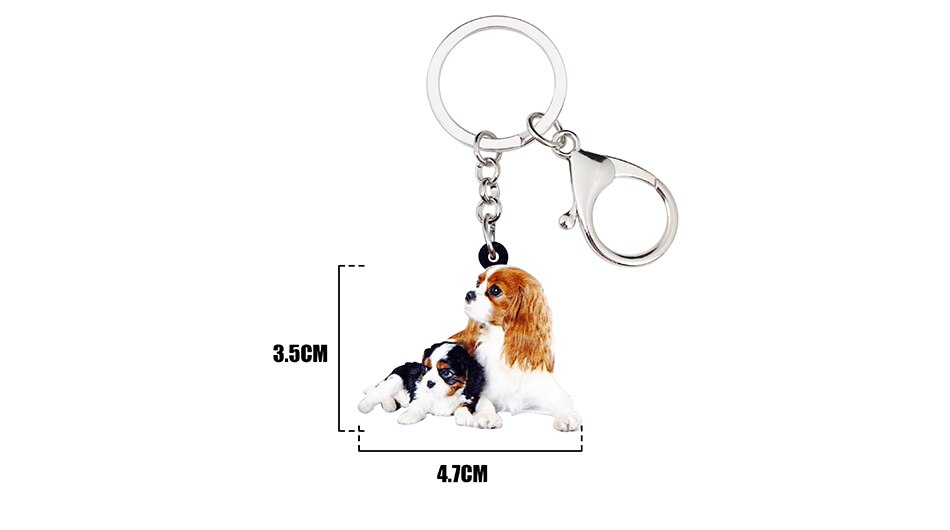 WEVENI Acrylic Cute Double Cavalier King Charles Spaniel Dog Key Chains Keychains Rings Bag Car Charms Jewelry For Women Girls