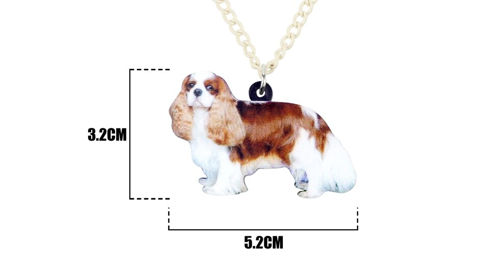 Bonsny Acrylic Elegant Cavalier King Charles Spaniel Dog Necklace Pendant Chain Choker Cute Animal Jewelry For Women Girl Ladies