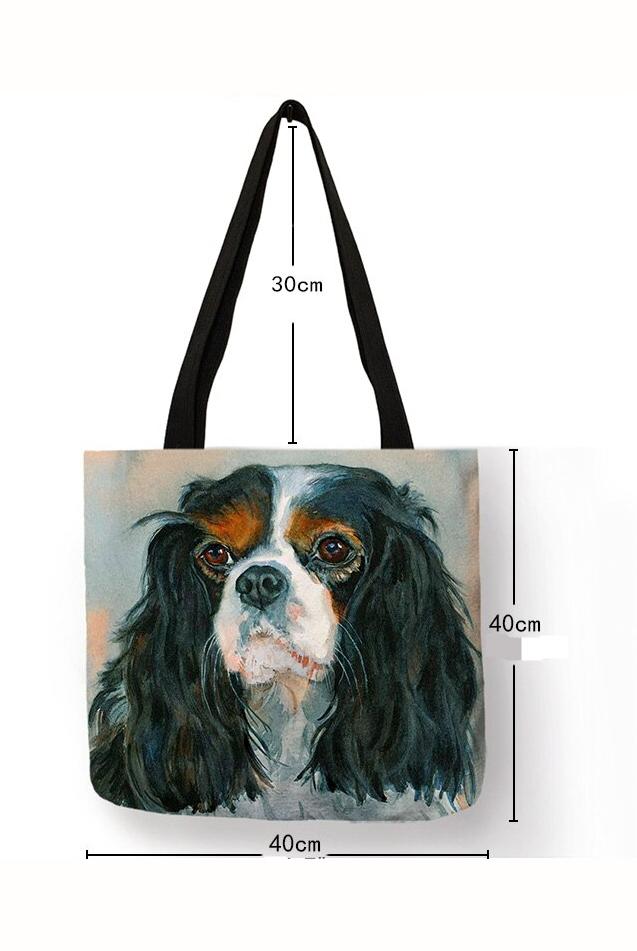 Unique Fashion Charles Spaniel Dog Print Tote Bag Handbags For Women Lady Durable Shoulder Shopping Bags Large Capacity