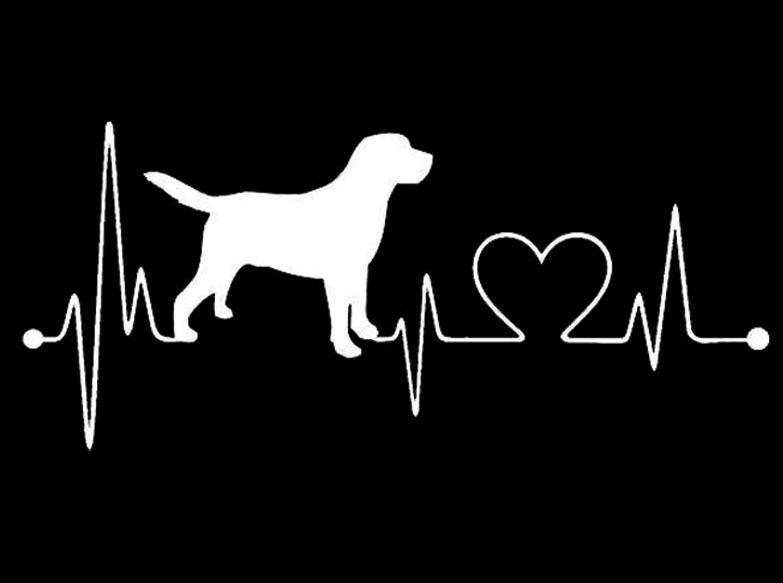 17.8*7.8CM Labrador Retriever Heartbeat Love Decal Car Sticker Creative Fashion Car Accessories