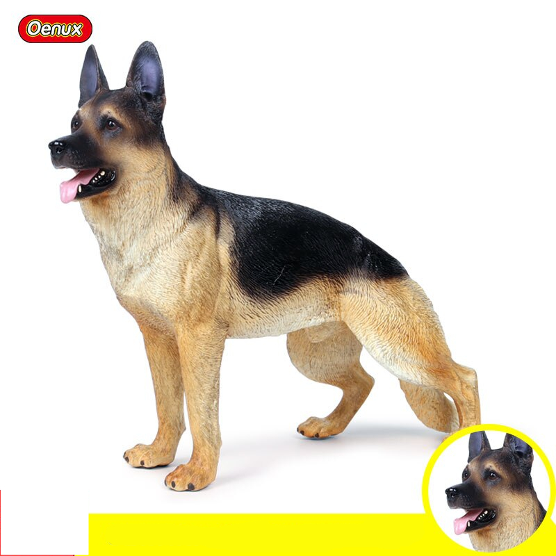 Oenux Genuine German Shepherd Dog Animals Simulation Big Dog Pet Action Figures Model PVC High Quality Lifelike Toy Kids Gift