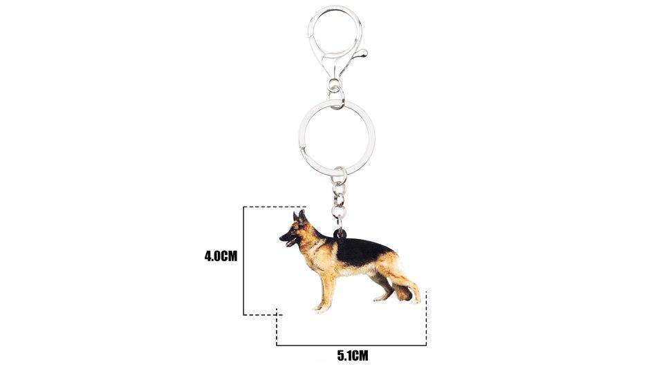 Bonsny Acrylic Standing German Shepherd Dog Key Chains Keychains Ring Animal Jewelry For Women Girls Pet Lovers Bag Car Charms