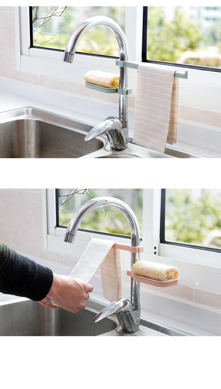 Hot Sink Hanging Storage Rack Storage Holder Sponge Bathroom Kitchen Faucet Clip Dish Cloth Clip Shelf Drain Dry Towel Organizer