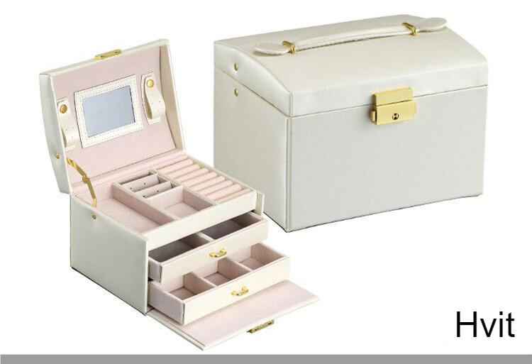 Three-layer Double Drawer Jewelry Box Make up Cases Women PU Leather Girls Rings Earrings necklace Accessories Storage Organizer
