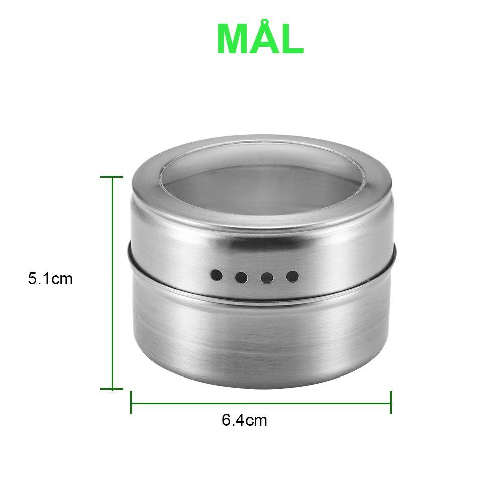 6PCS Magnetic Spice Jar Set With Stickers Stainless Steel Spice Tins Spice Storage Container Pepper Seasoning Sprays Tools
