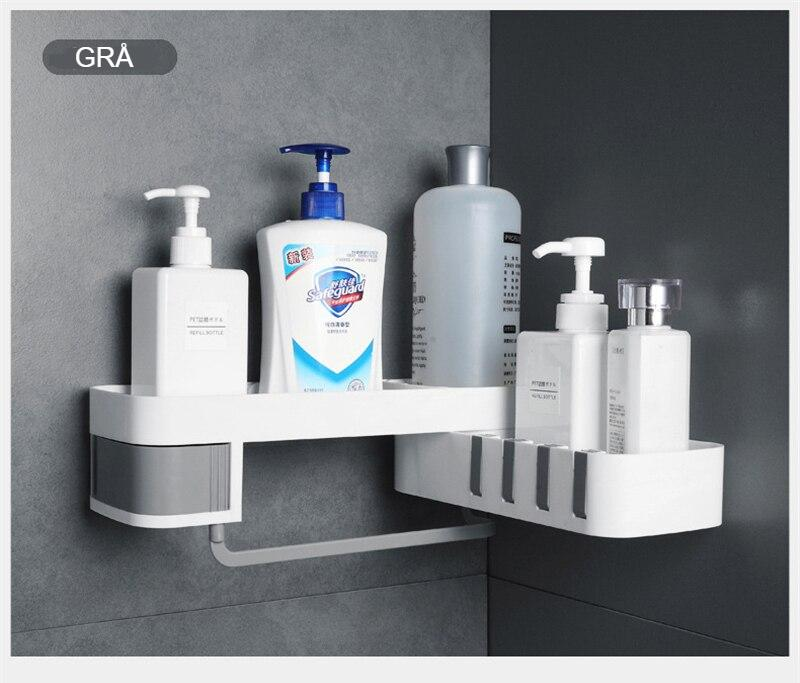Corner Shower Shelf Bathroom Shampoo Shower Shelf Holder Kitchen Nail-Free Punch-free Storage Rack Organizer Wall Mounted Rack