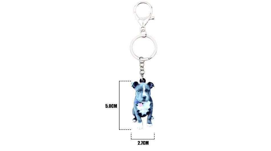 Bonsny Acrylic Staffordshire Bull Terrier Dog Key Chains Keychain Rings Novelty Animal Jewelry For Women Girl Kid Handbag Charms