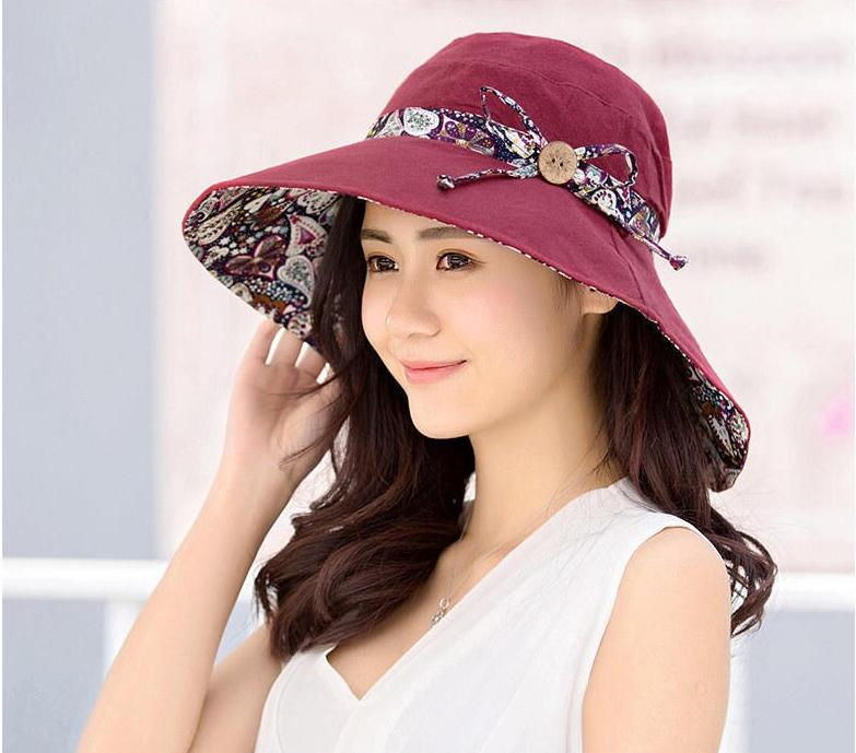 2021 New Women Sunhat Summer Beach Bowknot Wide Brim Sun Hat Travel Outdoor Reversible Foldable Cap