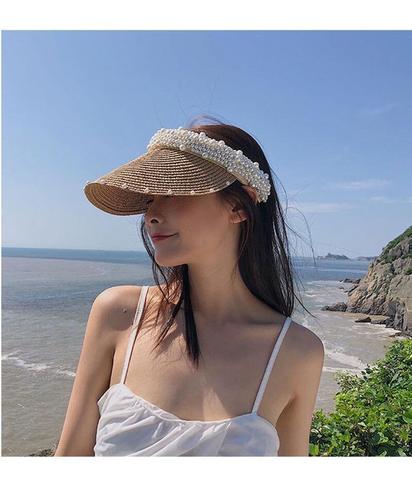 2021 Handmade pearl Summer Women's Sun Hat Bucket cap Bowknot Flowers Ribbon Flat top Panama soft Straw Hat fashiont Beach Caps