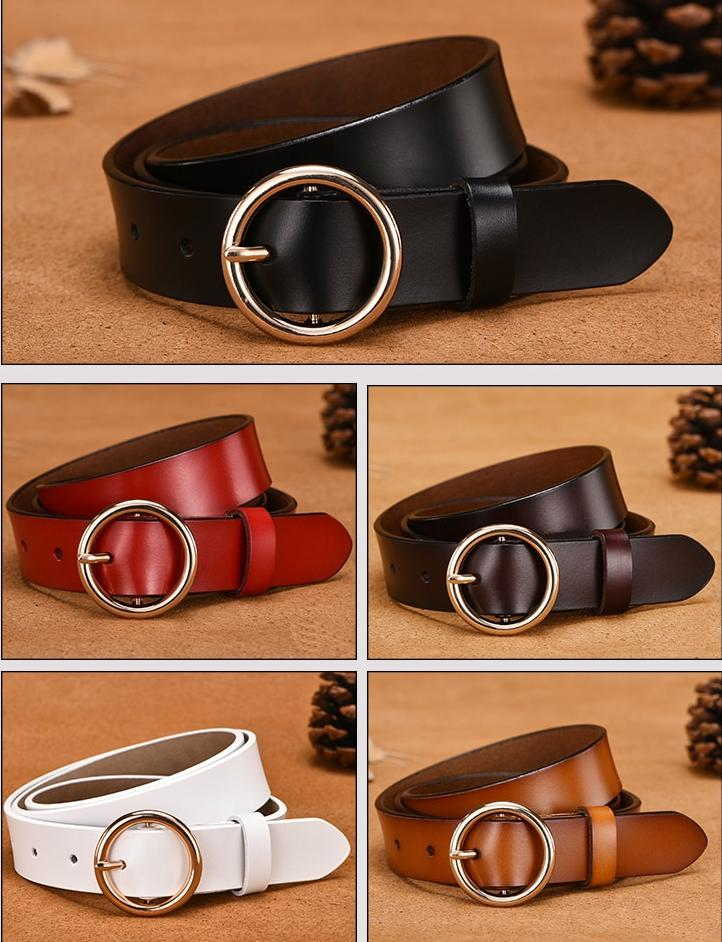 CARTELO Female The New classic retro fashion all-match leather belt light body paint round buckle belt simple Circle Pin Buckles