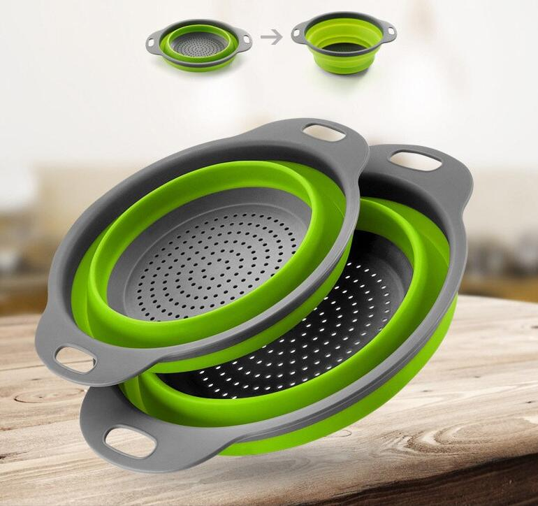 Foldable Silicone Colander Fruit Vegetable Washing Basket Strainer Strainer Collapsible Drainer With Handle Kitchen Tools