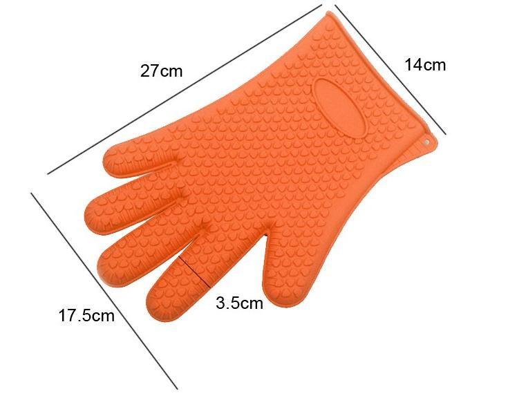 Veica 1pc Heat Resistant Kitchen glove Thick barbecue grilling glove Silicon BBQ Grill Oven Mitt Pot Holder Cooking glove
