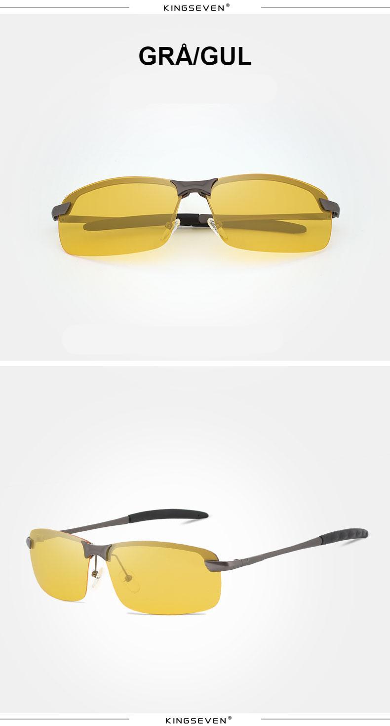 KINGSEVEN Night Vision Goggles Driving Polarized Sunglasses for men's car Driving Glasses Anti-glare Alloy Frame glasses night