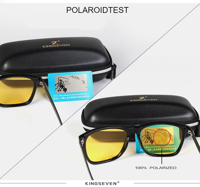 KINGSEVEN Polarized Men Women Night vision Sunglasses Yellow Lens Vintage Square Male Female Sun Glasses High quality